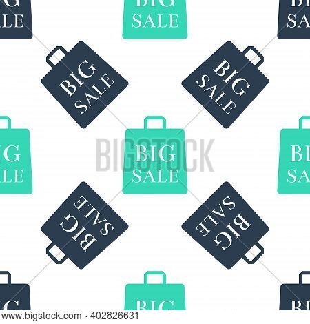 Green Shoping Bag With An Inscription Big Sale Icon Isolated Seamless Pattern On White Background. H