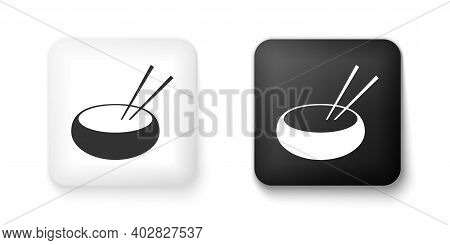 Black And White Bowl With Asian Food And Pair Of Chopsticks Silhouette Icon Isolated On White Backgr
