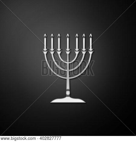 Silver Hanukkah Menorah Icon Isolated On Black Background. Religion Icon. Hanukkah Traditional Symbo