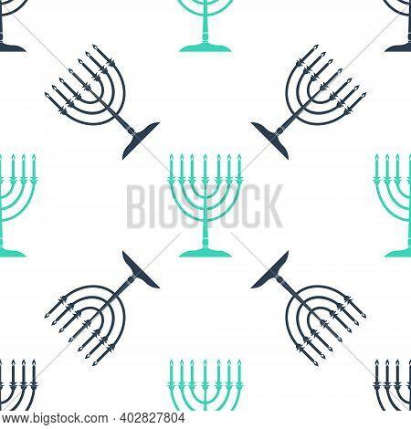 Green Hanukkah Menorah Icon Isolated Seamless Pattern On White Background. Religion Icon. Hanukkah T