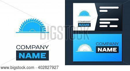Logotype Circular Saw Blade Icon Isolated On White Background. Saw Wheel. Logo Design Template Eleme