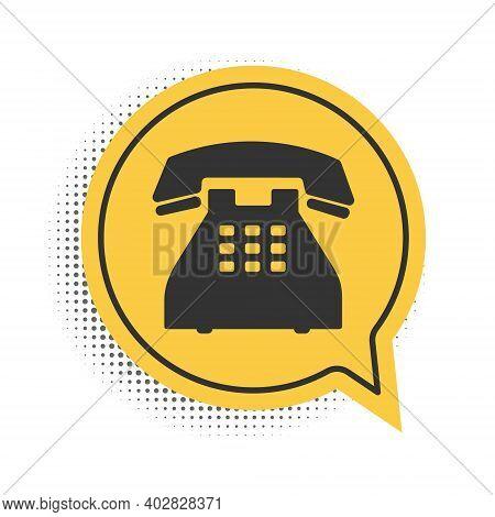 Black Telephone Icon Isolated On White Background. Landline Phone. Yellow Speech Bubble Symbol. Vect