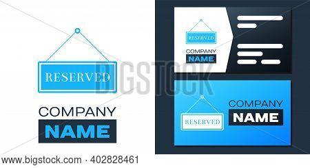 Logotype Hanging Sign With Text Reserved Sign Icon Isolated On White Background. Business Theme For