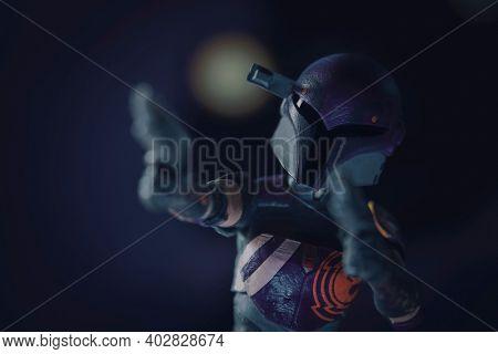JAN 10 2021: Star Wars Rebels and Mandalorian Sabie Wren with blasters - Hasbro action figure