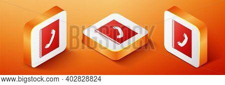 Isometric Phone Book Icon Isolated On Orange Background. Address Book. Telephone Directory. Orange S