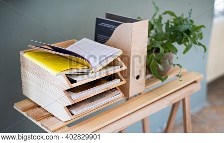 Paper And Document Wooden Tray Holders And Organisers On Desk, Natural Decor Concept.