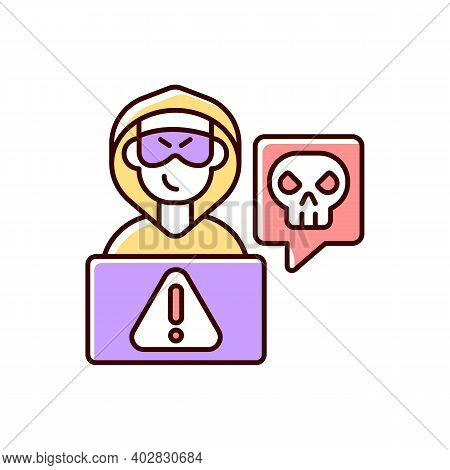 Cyberstalking Rgb Color Icon. Stalking Online From Anonymous Person. Online Hate. Internet Hate Comm