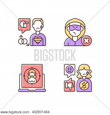 Cyber Bullying Rgb Color Icons Set. Block Or Mute Harasser. Ban Internet Troll. Online Sexual Harass