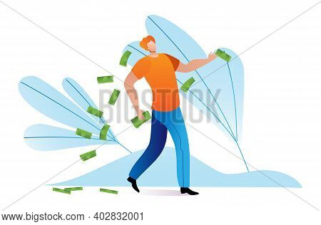 Rich Character Man Cheerful Wasteful Lifestyle, Wealthy Person Throw Cash Money Flat Vector Illustra