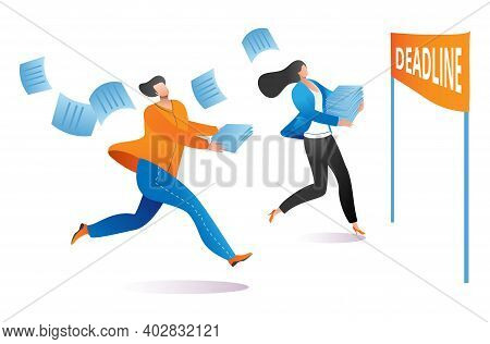 Freelancer Worker Male And Female Character Running To Deadline, Complete Work Last Date Cartoon Vec