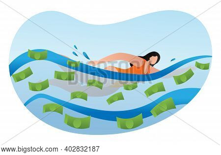 Woman Physical Activity Swimming Pool With Cash Dollar Funds, Female Rich Person Cartoon Vector Illu