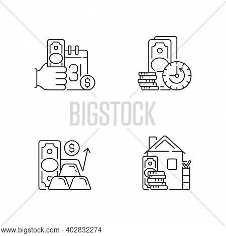 Hockshop Linear Icons Set. Payday Loan. Extension. Gold Price. Down Payment. Short-term Borrowing. C