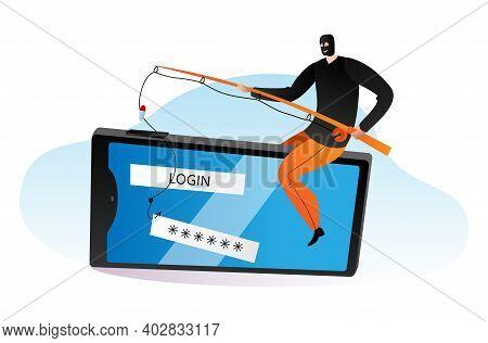 Cyber Security Protection, Modern Technology Criminal Offender, Hacker Crack Bank Application Flat V
