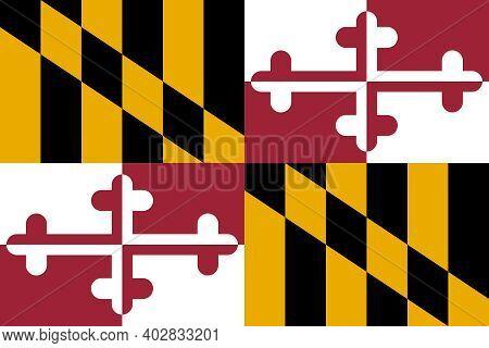 Official Large Flat Flag Of Maryland Horizontal