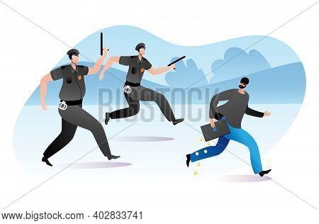 Officer Policeman Male Character Running Pursue Felon With Stolen Stuff, Steal Money Cash Flat Vecto