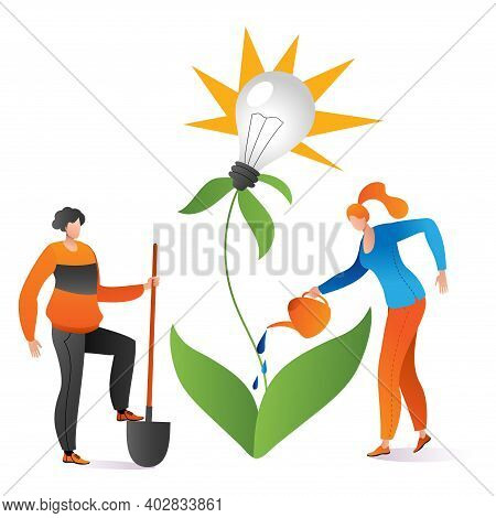 Teamwork People Together Use Watering Can Business Creative Idea, Grown Green Plant Lamp Thought Car