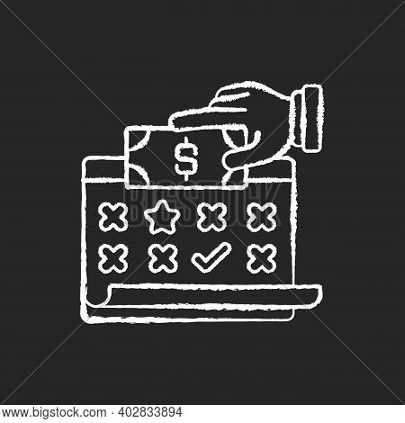 Payroll Chalk White Icon On Black Background. List Of Employees Of Some Company That Are Entitled To