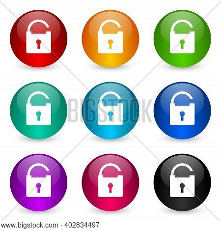 Padlock, Security Icon Set, Colorful Glossy 3d Rendering Ball Buttons In 9 Color Options For Webdesi