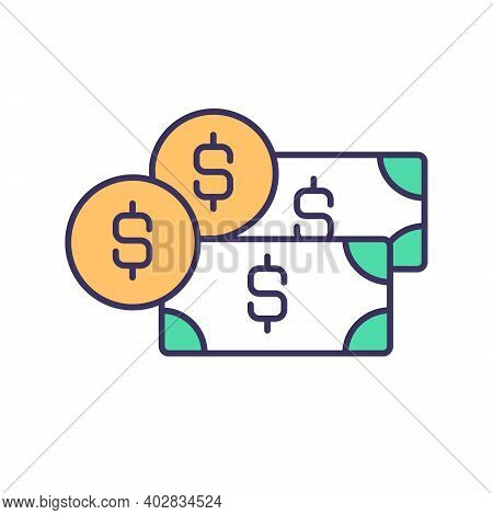 Money Income Rgb Color Icon. Wages And Salaries. Financial Inflows. Capital Investment In Business.