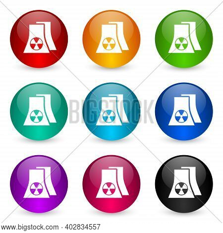 Nuclear Power Plant Icon Set, Colorful Glossy 3d Rendering Ball Buttons In 9 Color Options For Webde