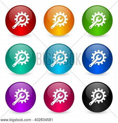Repair, Industry, Service Concept Icon Set, Colorful Glossy 3d Rendering Ball Buttons In 9 Color Opt