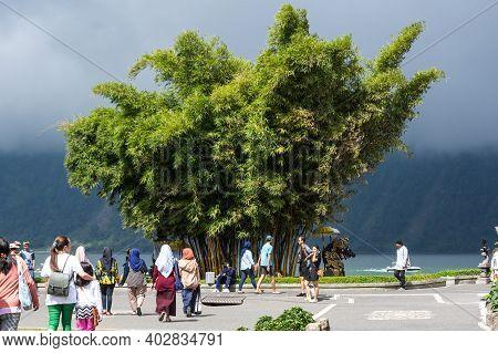 Bali, Indonesia - 16 September 2018: The Garden Of Temple Complex Pura Ulun Danu Beratan, Or Pura Br