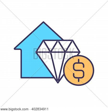 Assets Value Rgb Color Icon. Investment In Property. Home Price. Monetary Value. Real Estate. Home M