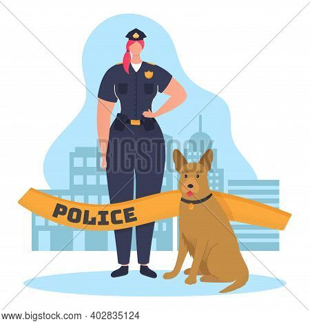 Woman Character Policeman Hold Service Dog And Protect Order, Law Enforcement Cartoon Vector Illustr