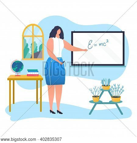Woman Mathematician Physicist Teacher Character Hold Pointer, Educator Board With Physical Formula F