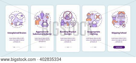 Signs Of Child Abuse And Neglect Onboarding Mobile App Page Screen With Concepts. Kids Harassment Wa