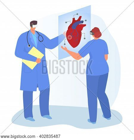Modern Medical Equipment, Virtual Reality Therapeutic Technology, Doctor Together Study Human Heart