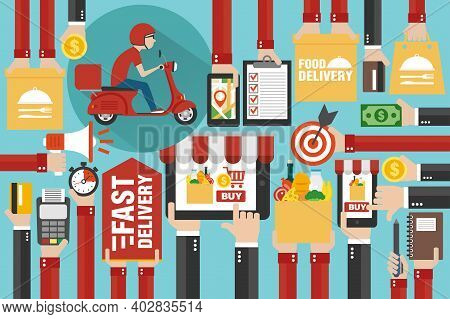 Fast Delivery Package By Scooter. Online Delivery Service. Internet E-commerce. Online Shopping Food