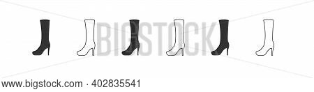 Shoes Icons. Silhouette Of Women's Boots. Boots Icon Isolated On White Background. Vector Illustrati