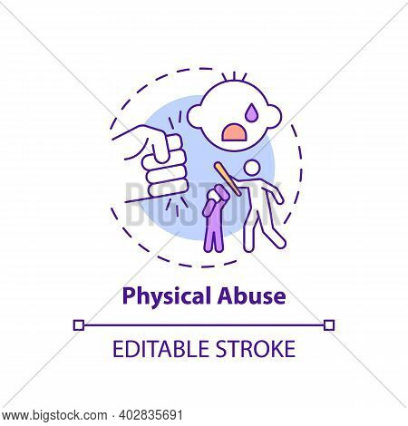 Physical Abuse Concept Icon. Parent Hit Kid. Physical Violence At Home. Harm To Childrens Health. Ch