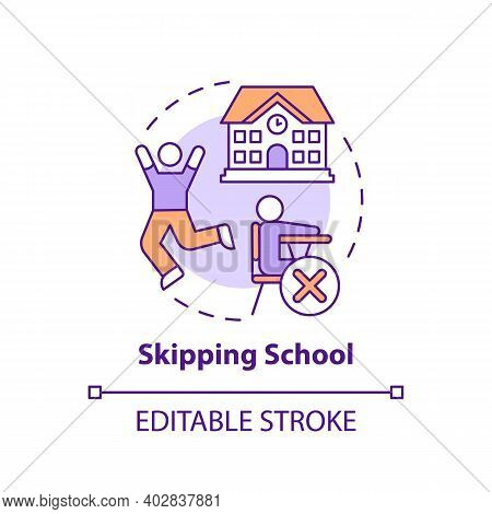 Skipping School Concept Icon. Kids Truancy. Trouble With Education. Non Attendance To Class. Child S