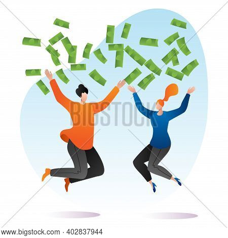 Rich Woman, Man Together Throw Money Around And Jumping, Wealthy Person Splash Out Cartoon Vector Il