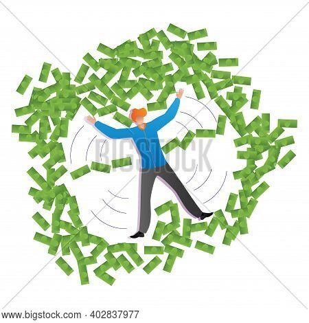 Rich Male Lying Floor Money Angel, Large Amount Cash Dollar, Wasteful Lifestyle Flat Vector Illustra