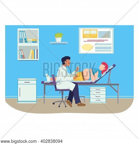 Medical Examination Pregnant Woman, Professional Pediatrician Doctor Listens Female Cartoon Vector I
