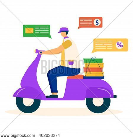 Express Delivery Service Man Ride Motor Scooter, Shipping Company Document, Money Flat Vector Illust