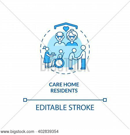 Care Home Residents Concept Icon. Covid Vaccination Priority List. Helping People Remotely. Health C