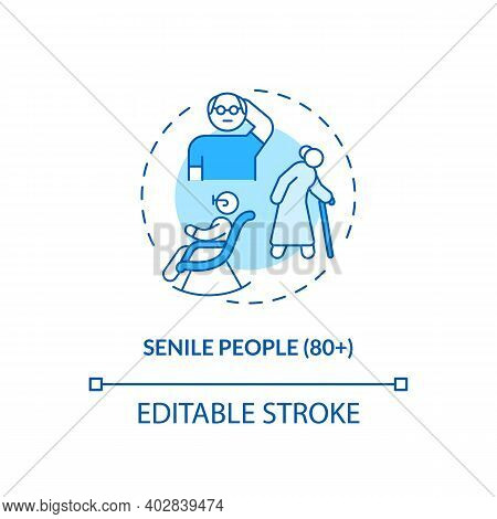 Senile People Concept Icon. Covid Vaccination Priority List. Medical Help For Eldery People. Clinic