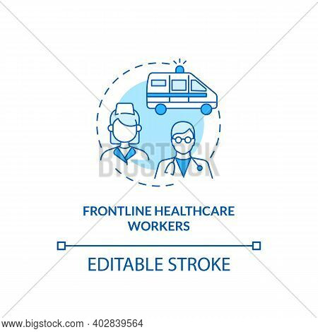 Frontline Healthcare Workers Concept Icon. Covid Vaccination Priority List. Proffesional Hospital St