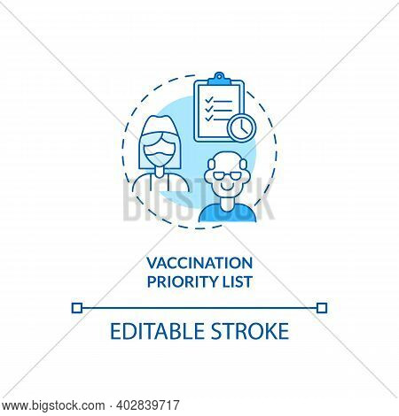 Vaccination Priority List Concept Icon. Covid Vaccination. Number Of People Who Need Special Help. C