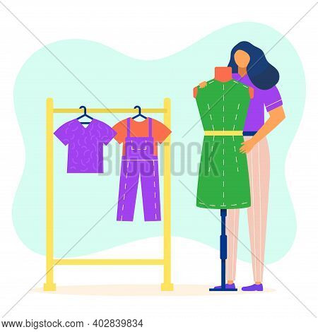 Woman Hold Fashion Style Dress, Female Character Standing Clothes Hanger Fitting Garment Flat Vector