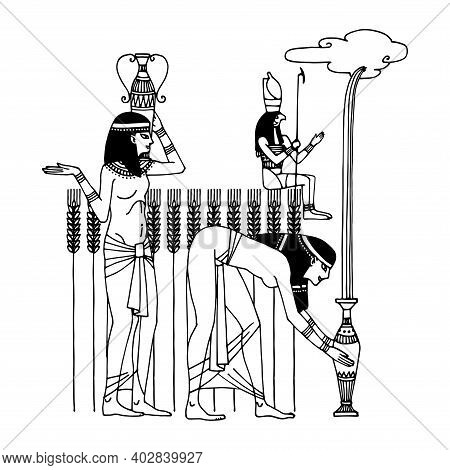 The Egyptian God Horus Helps Beautiful Peasant Women Gather Water For The Wheat Harvest, Calls The R