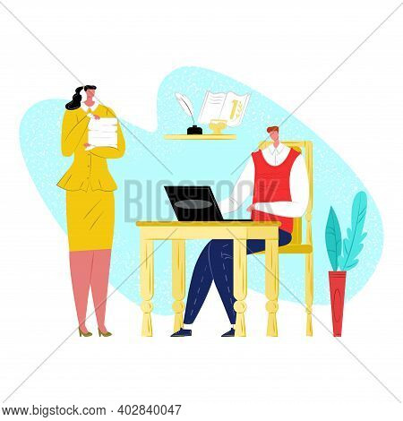 Woman Character Secretary Hold Firm Document, Team Leader Man Sitting Table Chief Laptop Flat Vector