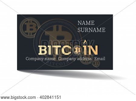 Bitcon. Business Card. Vector Template Design. Concept Of Using Bitcoin As A Means Of Payment. Conta