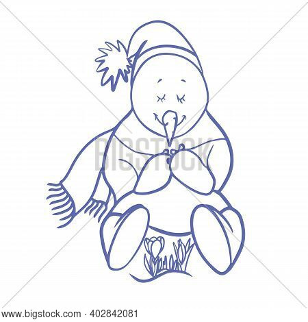 Snowmen Near Flower. A Funny Character Of A Snowman In A Hat And A Scarf Sitting Touched By A Bush O