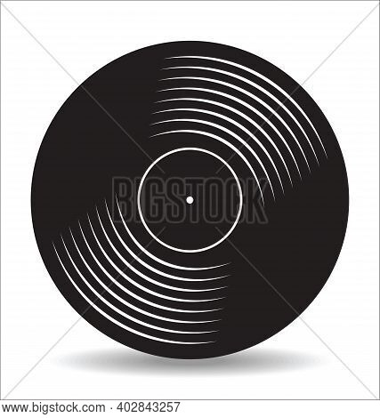 Gramophone Vinyl Lp Record Illustration Isolated On White Background