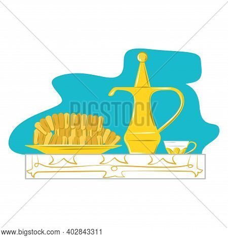 Folk Russian Tea Gzhel Service With Bakery Product, Foodstuff Bread Goods And Teapot Icon Flat Vecto